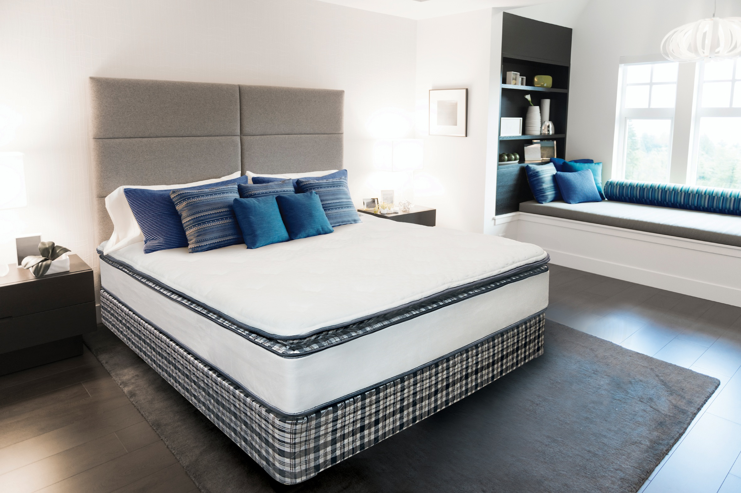 a modern bedroom / you could say it is stylish / contemporary